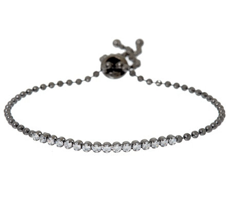 Vicenza Silver Sterling Crystal Adjustable Bracelet