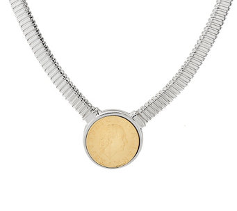 "Vicenza Silver Sterling 18"" Lire Coin Tubogas Necklace, 38.0g - J326491"
