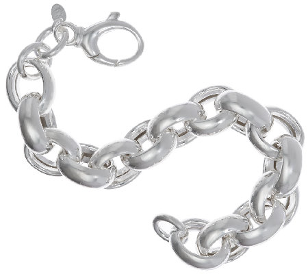 """As Is"" UltraFine Silver 6-3/4"" Oval Rolo Bracelet, 32.0g"