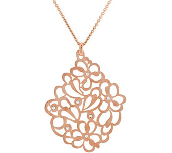 """As Is"" Bronze Floral Crystal Pendant w/18"" Chain by Bronzo Italia - J327591"