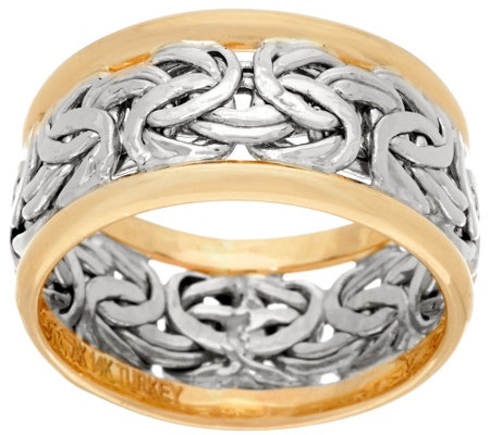 """As Is"" 14K Gold Byzantine Inlay Band Ring"