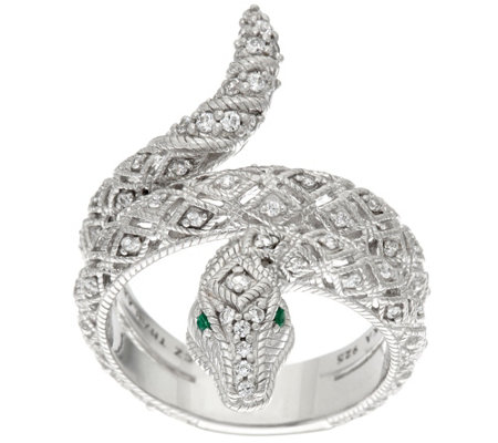 Judith Ripka Sterling Diamonique & Emerald Eye Snake Ring