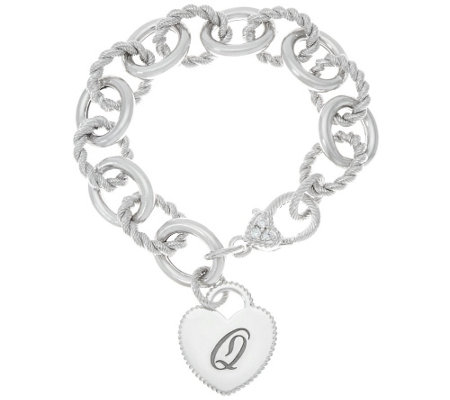 """As Is"" Judith Ripka Verona Heart Initial Rolo Link Bracelet 37.8g"