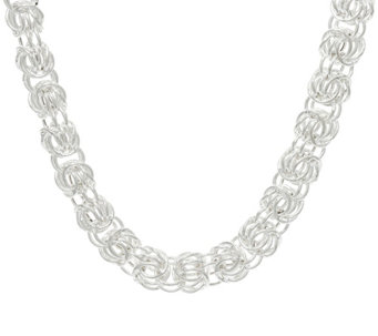 "Sterling Silver Rosetta Fancy Woven 18"" Necklace, 44 grams - J329291"