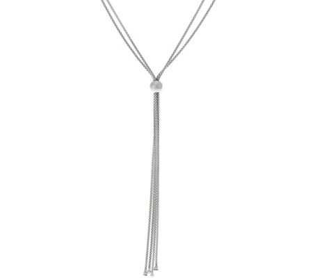 Vicenza Silver Sterling Adjustable Lariat Necklace, 10.7g