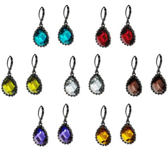 Joan Rivers Set/7 Faceted Teardrop Lever Back Earrings - J330491