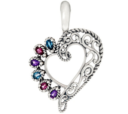 Carolyn Pollack Sterling Silver Multi-Gemstone Heart Enhancer