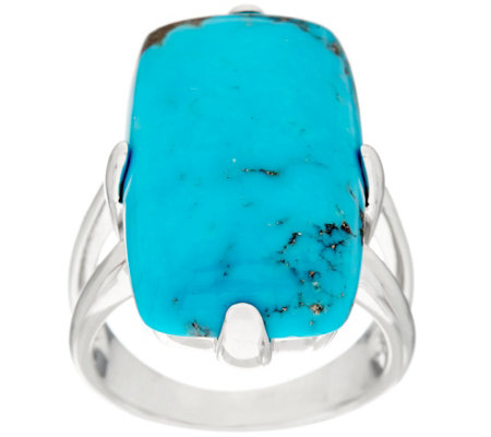 """As Is"" Bold Elongated Cushion Kingman Turquoise Sterling Ring"