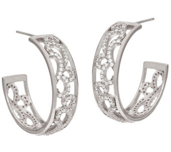 """As Is"" Vicenza Silver Sterling 1"" Round Scroll Design Hoop Earrings - J333091"