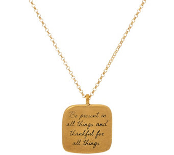 "Maya Angelou ""Be Present"" 14k Gold Plated Quote Pendant by Dogeared - J333791"