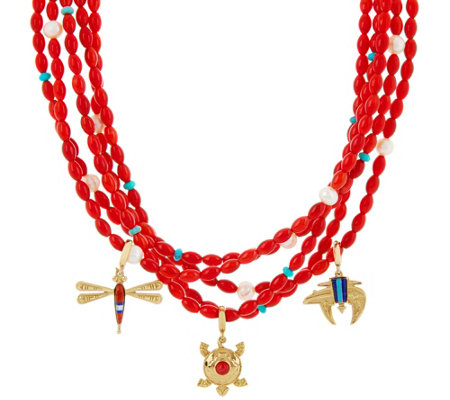 American West Red Coral Bead Charm Statement Necklace