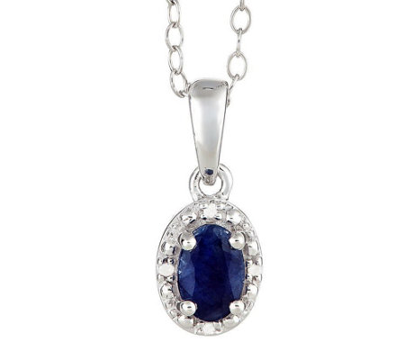 Sterling Oval Gemstone Pendant with Diamond Accent & Chain