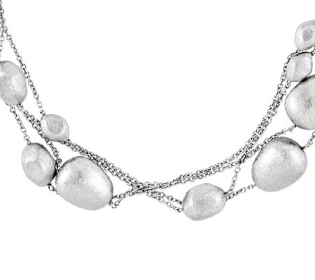 Sterling Polished and Brushed Fancy Beaded Necklace, 84""