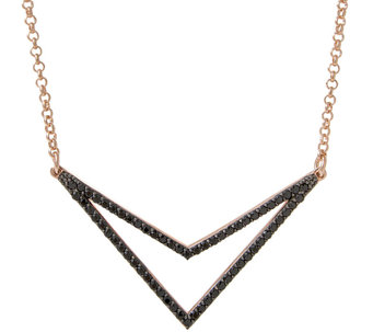 "Bronzo Italia Gemstone or Crystal Chevron 18"" Necklace - J337791"
