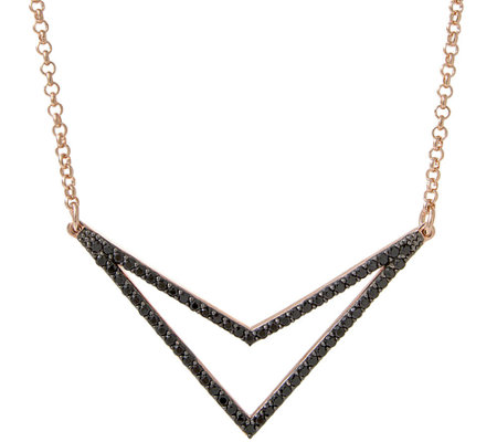 "Bronzo Italia Gemstone or Crystal Chevron 18"" Necklace"