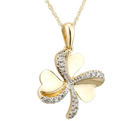 Solvar Diamond Shamrock Pendant with Chain, 14KGold