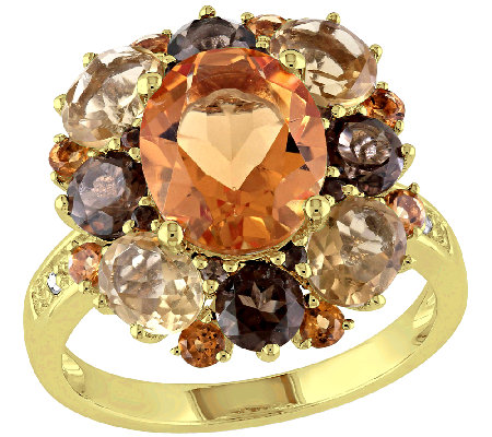6.35cttw Oval Citrine & Smoky Quartz Ring