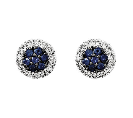 Sapphire & Diamond Circle Post Earrings, 14K White Gold