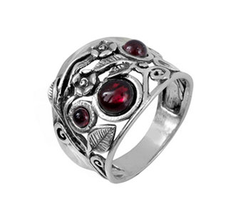 Sterling Silver Garnet Garden Ring by Or Paz - J339491