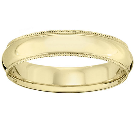 18K Gold 5mm Milgrain Comfort Fit Wedding Bandring