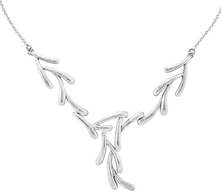 "Sterling 17"" Textured-Finish Tree Branch Necklace"