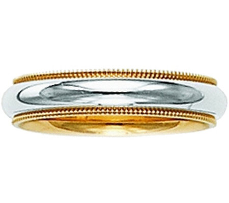 14K Gold Two-Tone Comfort Fit Wedding Band w/Miligrain