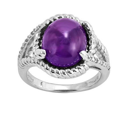 Sterling Gemstone Cabochon and Diamond Ring