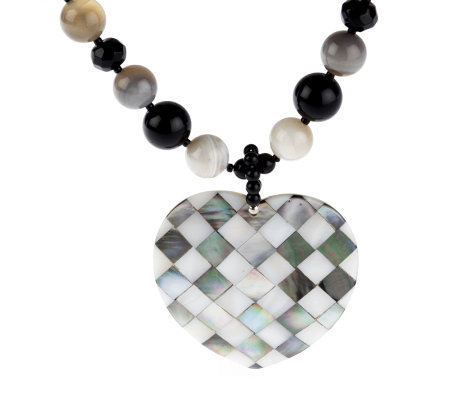"Lee Sands Agate & Mother-of-Pearl Heart Inlay 20"" Necklace"