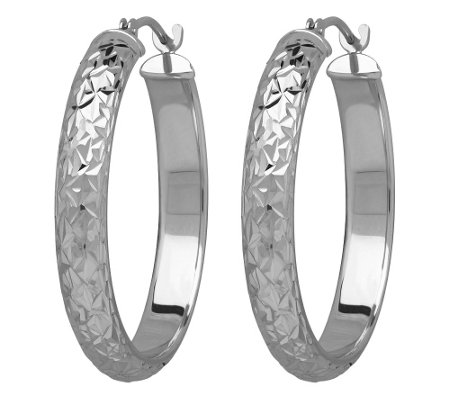 "EternaGold 1"" Diamond Cut Round Hoop Earrings,14K"