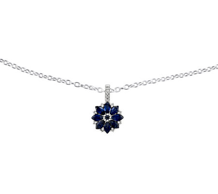 "Sterling Sapphire Flower Pendant w/ 18"" Chain"