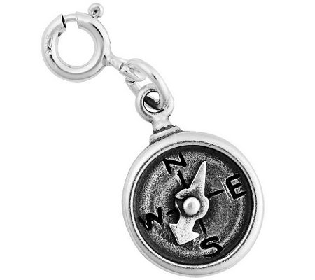 Sterling Silver Compass with Movable Needle Charm