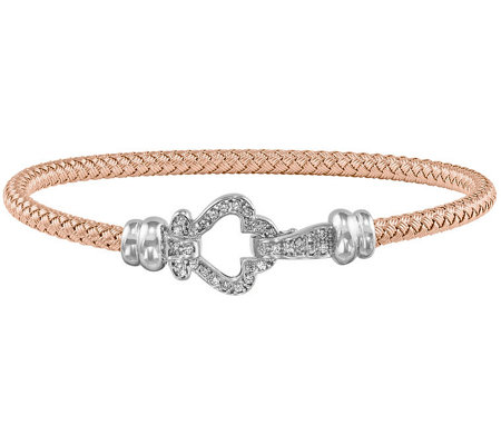 Sterling & 14K Gold-plated Crystal Clover WovenBangle