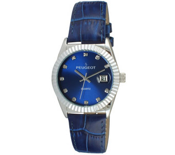 Peugeot Women's Silvertone Coin Bezel Blue Leather Watch - J344591
