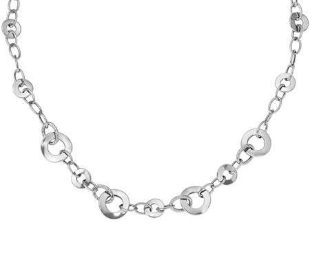 "14K White Gold Polished Textured Disk 18"" Necklace, 7.6g"