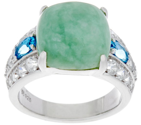 Burmese Jade and Gemstone Sterling Silver Ring 1.60 cttw