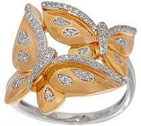 White Diamond Butterfly Ring Sterling 1/4 cttw by Affinity - J349991
