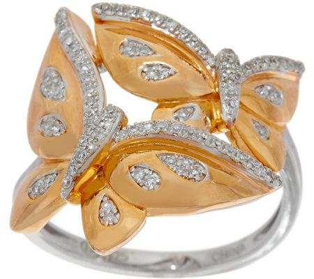 White Diamond Butterfly Ring Sterling 1/4 cttw by Affinity