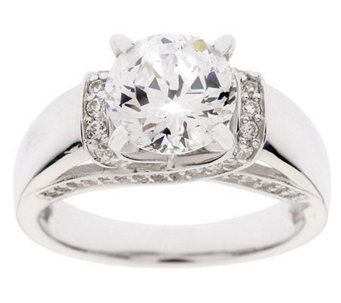 Diamonique 100-Facet 2.35 cttw Fancy Gallery Ring, Platinum Clad - J36991