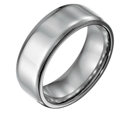Forza Men's 8mm Steel w/ Beveled EdgePolished Ring