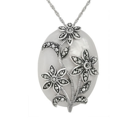 Suspicion Sterling Marcasite Mother-of-Pearl Pendant w/Chain
