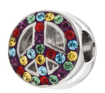 Prerogatives Sterling Rainbow Crystal Peace Symbol Bead - J113292