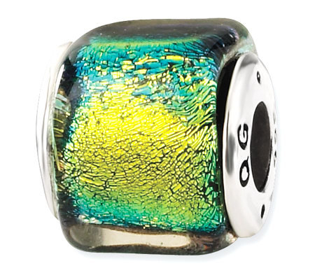 Prerogatives Sterling Yellow/Green Dichroic Glass Square Bead