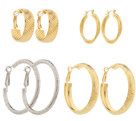 Jacqueline Kennedy Set of 4 Pair Hoop Earring Wardrobe