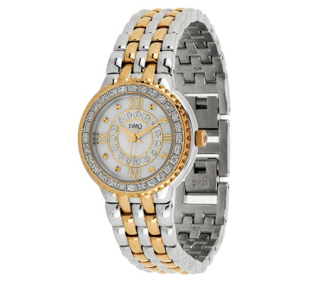 Diamonique Pave' Dial Panther Link Bracelet Watch