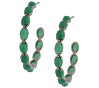 "Emily & Ashley Sterling 1-1/2"" Gemstone Cabochon Hoop Earrings - J289192"