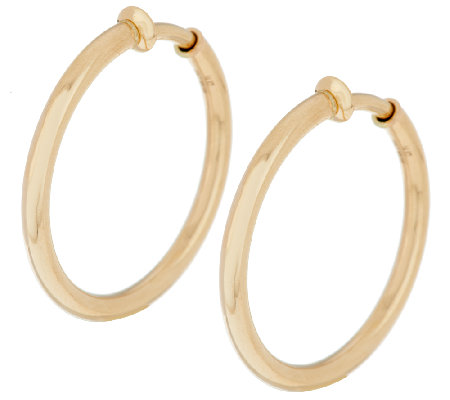 "Vicenza Gold 1 1 4"" Polished Non Pierced Round Tube Hoop Earrings"