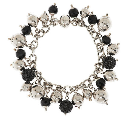 """As Is"" VicenzaSilver Sterling 35.00 cttw Spinel Charm Bracelet"