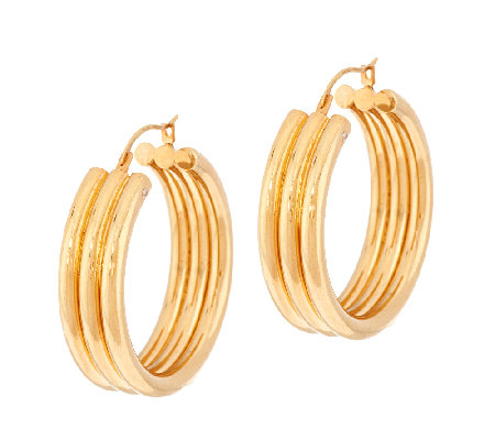 """As Is"" Triple Row Design 1-1/4"" Hoop Earrings, 14K Gold"
