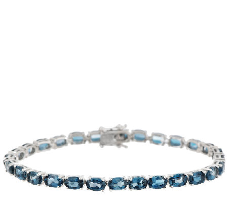 "Ostro London Blue Topaz 14.00 ct tw 6-3/4"" Sterl. Tennis Bracelet"