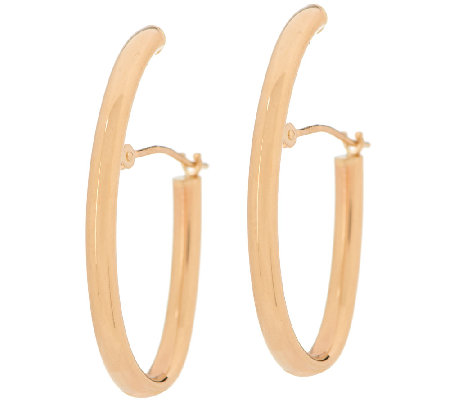 "14K Gold 1-1/4"" Elongated Oval Tube Hoop Earrings"